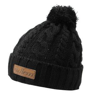 Diem Knitted bobble beanie (muts) zwart