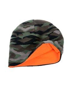 Camouflage/oranje Beanie (muts) tweezijdig te dragen