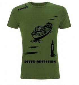 RIVERKINGS River Obsession T-shirt Olive Green Zwarte print