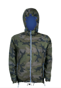 Unisex Lined Windbreaker Camouflage / Royal Bleu
